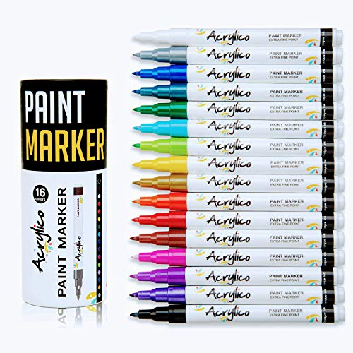 - Acrylico Markers Paint Pens | 16 Vibrant Acrylic Pens Extra-Fine Tip Set | Non-Toxic, Works On All Surfaces