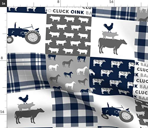 Spoonflower Cheater Quilt Fabric - Farm Patchwork Plaid Grey Baby Boy Tractor Nursery Quilt by Littlearrowdesign Printed on Fleece Fabric by The Yard