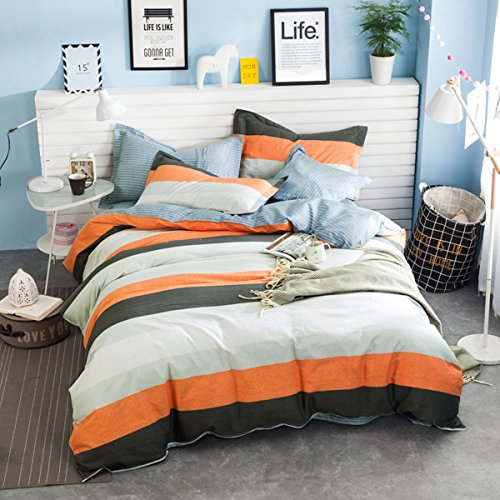 WarmGo 4 Piece 100% Cotton Beddding Set - Simpe Grey & Orange Stripe Design Duvet Cover Set with 2 Pillowcases -Not Include Comforter£¬Full/Queen Size