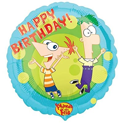 """Phineas and Ferb 18"""" Happy Birthday Mylar Balloon Party Supplies: Toys & Games"""