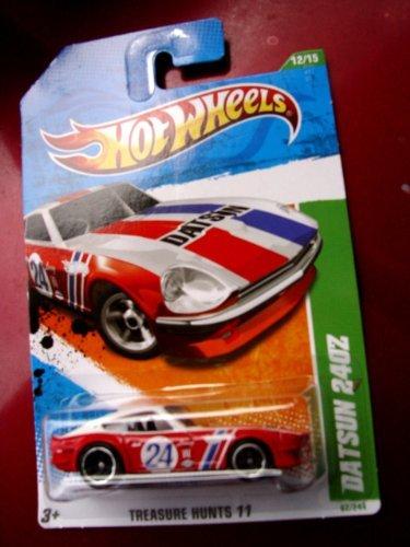 Hot Wheels Treasure Hunt 2011 ''Datsun 240Z Treasure Hunt '11 - 12 of 15 - 62/244 Red & White with #24 Racecar Decal on Door & Datsun in Bold Black Letters Across Hood ()