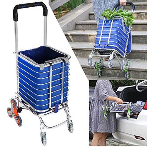 Homdox Folding Shopping Cart, Portable Stair Climbing Utility Cart with Swivel Wheel and Waterproof Canvas Bag, 177 Pounds Capacity