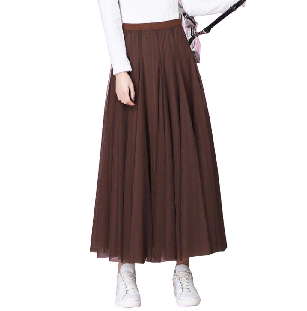 f36538b4168b Adonis Pigou Women's Elastic Waist Net Mesh Tulle Overlay Midi Skirt Maxi  Tutu Dress Coffee