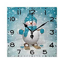 Naanle Cute Snowman Skiing Christmas Print Square Wall Clock, 8 Inch Battery Operated Quartz Analog Quiet Desk Clock for Home,Office,School