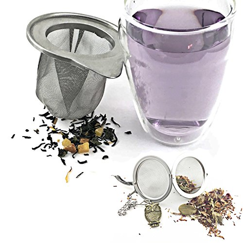 Tea Infuser Gift Set by Hoot Tea - Includes Premium Mesh Cup Infuser and Stainless Steel Ball Strainer For The Best Loose Leaf Tea Experience