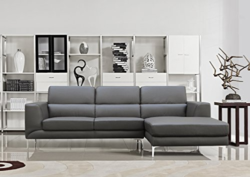 US Pride Furniture Yuri Grey Leather Facing-Right Chaise Contemporary Sectional Sofa Set : grey leather sectional couch - Sectionals, Sofas & Couches
