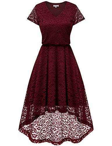 Bbonlinedress Women's Vintage Floral Lace High Low Cap Sleeve Formal Cocktail Swing Party Dress Burgundy S