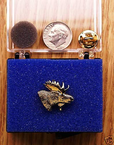Braides 4K Gold Plated Moose Head Single Posted Pin//Tie Tack