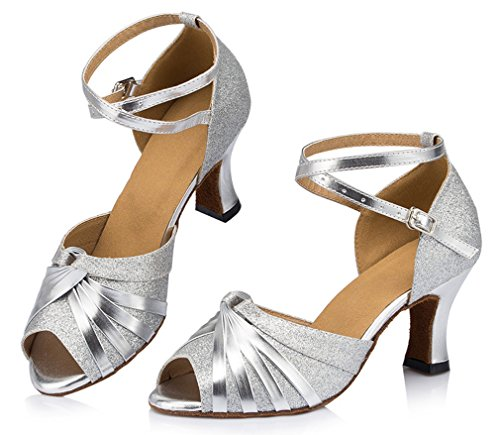 Womens Dance Mid Toe Honeystore Silver Heel Latin Peep 03 Shoes RpUqwnxa