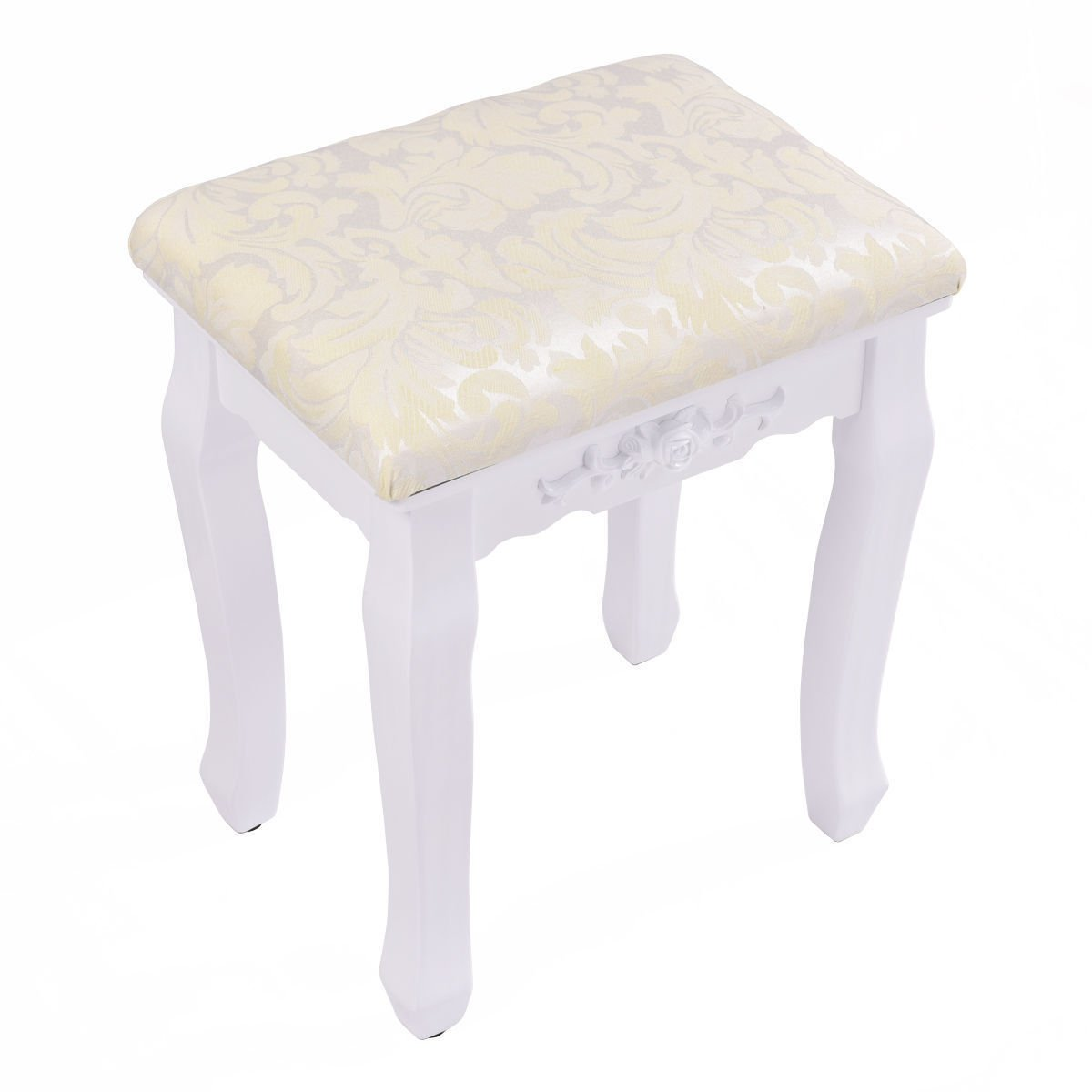 Retro Wave Design Makeup Dressing Stool Pad Cushioned Chair Piano Seat White