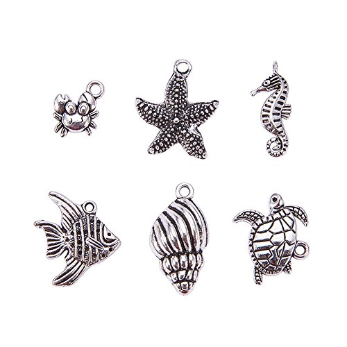 Tibetan Silver Seahorse Charms - PH PandaHall 30PCS (6pcs/set, 5 sets) Mixed Antique Silver Ocean Animals Charms Tibetan Style Alloy Pendants (Helix, Starfish, Sea Horse, Crab, Fish Tortoise)