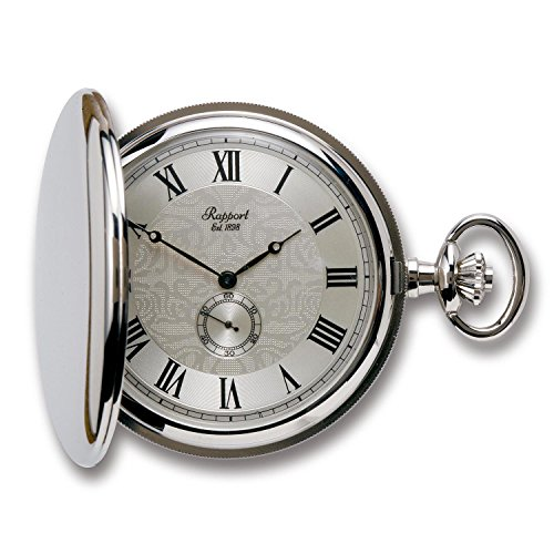 (Vintage Pocket Watch with Chain by Rapport - Classic Oxford Hunter Case Pocket Watch with Sub-Seconds - Silver)
