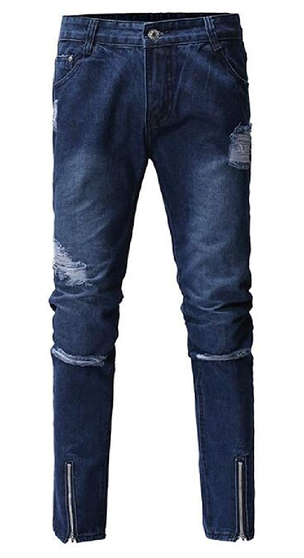 YYG Men Slim Ripped with Zip Deco Stretch Denim Jeans Pants