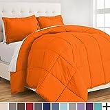 Premium Down Alternative Comforter Set - Hypoallergenic - All Season - Plush Siliconized Fiberfill (Twin/Twin XL, Orange)