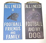 Carolina Panthers Wall decor. two Wood plaque set , Friends and family, and my dog themes.