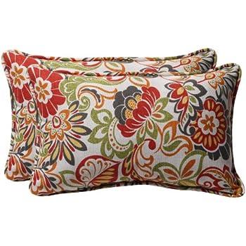 pillow perfect decorative modern floral rectangle toss pillows 2pack