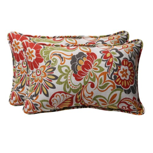 Pillows Designer Floral Throw - Pillow Perfect Decorative Multicolored Modern Floral Rectangle Toss Pillows, 2-Pack