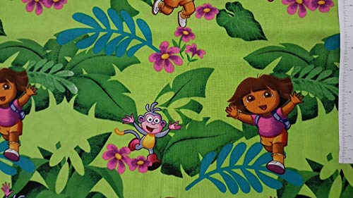 Dora One Hip Explorer Dora Green 100% Cotton Fabric by The Yard