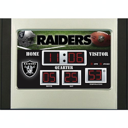 NFL Oakland Raiders Scoreboard Desk Clock, Small, Multicolored (Nfl Scoreboard)