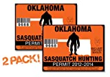 Oklahoma-SASQUATCH HUNTING PERMIT LICENSE TAG DECAL TRUCK POLARIS RZR JEEP WRANGLER STICKER 2-PACK!-OK