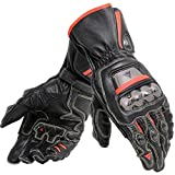 Dainese Full Metal 6 Leather Motorcycle Racing Gloves Black/Black/Fluo Red (Medium)