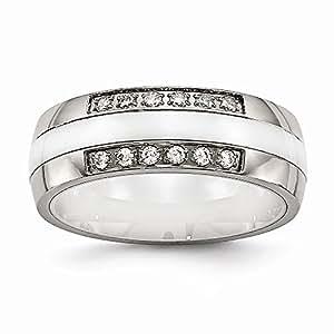 7 mm de acero inoxidable pulido y blanco CZ Anillo - tamaño N 1/2 - JewelryWeb