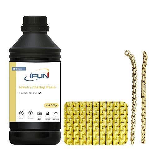IFUN 3D Resin Jewelry Casting for 405nm DLP 3D Printer JewelCast Lost Wax Cast SLA UV Cure Photosensitive Liquid Yellow…