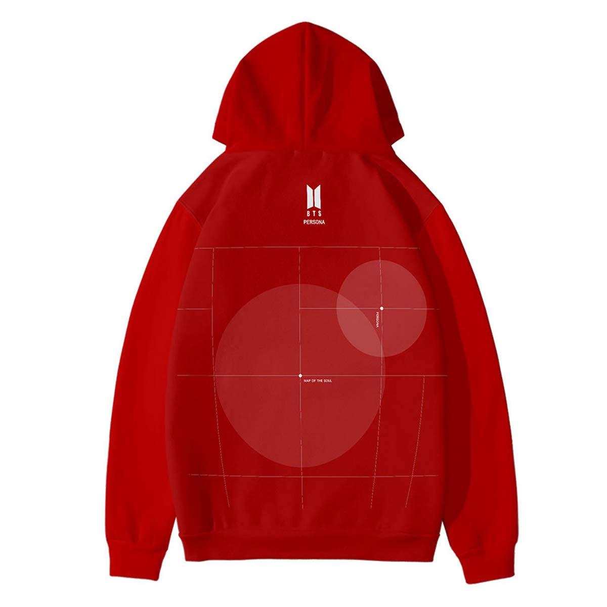 Qaedtls Kpop BTS Hoodie Map of The Soul Persona Sweater Suga V Jimin Jungkook Sweatshirts