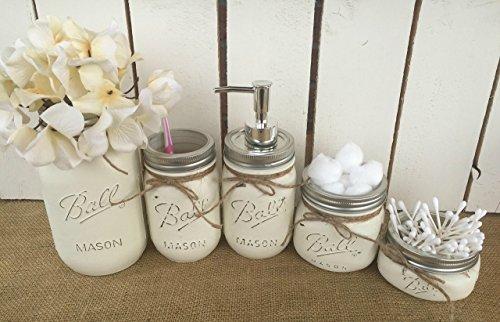 Painted-Mason-Jar-Bathroom-Set-of-5-Antique-White-Rustic-Distressed-Farmhouse-Decor-Bathroom-Soap-Dispenser-Painted-Mason-Jar-Burlap-Bowtique