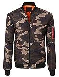 JD Apparel Men's Lightweight Slim Fit Bomber Jackets Large Olive Camoflauge