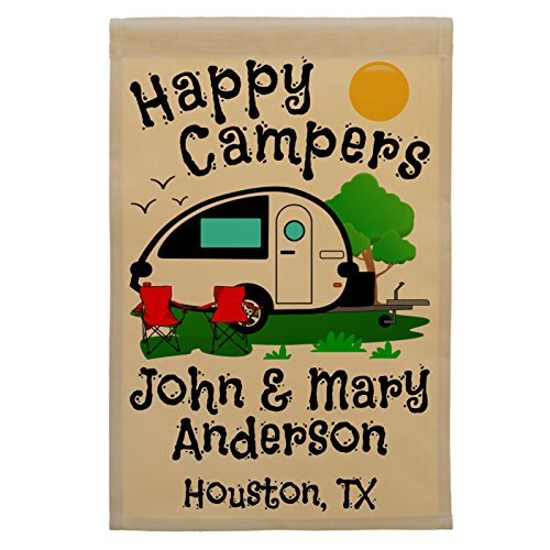 Happy Campers Personalized Teardrop Camper Campsite Flag, Customize Your Way (Black Camper) Review