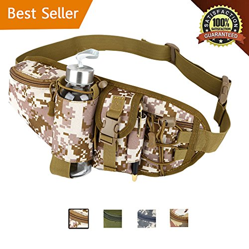 BODFY Tactical Waist Pack Hiking Military Fanny Pack With Water Bottle Pocket Holder Pouch for Fishing Hunting By (Desert Camouflage)