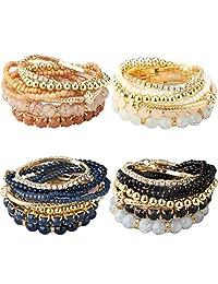Thunaraz 2-4 Sets Stackable Bracelets for Women Girls Multilayer Beaded Bracelets Stretch Bangles Bohemian Style