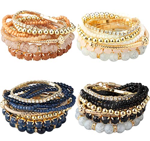 Milacolato 2-4 Sets Stackable Bracelets for Women Girls Multilayer Beaded Bracelets Stretch Bangles Bohemian Style (4 Set Bracelets)