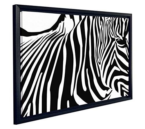 "JP London FCNV2008 Black &White Zebra Tattoo Line Art Framed Canvas Art Wall Decor, 20.37"" x 26.37"" x 1.25"""