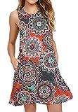 BISHUIGE Women's Floral Summer Work Casual Clothes Sleeveless Round Neck Beach Dresses with Pockets Round Orange S