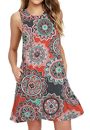 BISHUIGE Women's Floral Summer Work Casual Tshirt Dress Sleeveless Swing Beach Dresses with Pockets XFloral Round Orange XL
