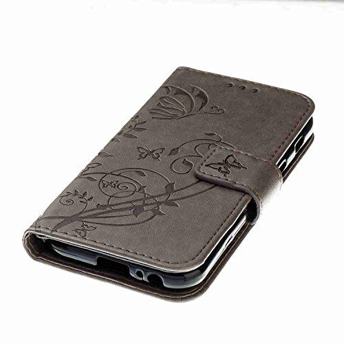 Funda Samsung Galaxy A3 2017, 4.7 pulgadas, Cáscara Samsung Galaxy A3 2017, Alfort Casco de Protección Relieve Carcasa PU Carcasa del teléfono con una función de Soporte y la Cartera La alta calidad d Gris