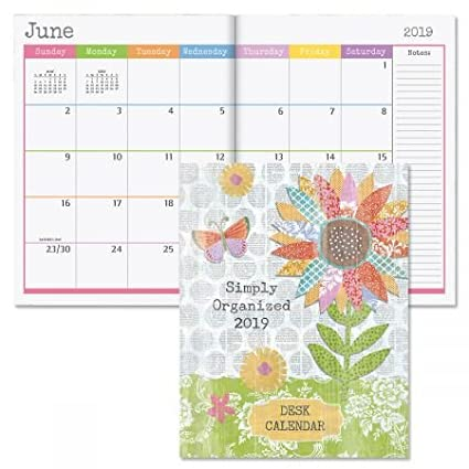 amazon com 2019 collage style desk planner monthly calendar 8 1
