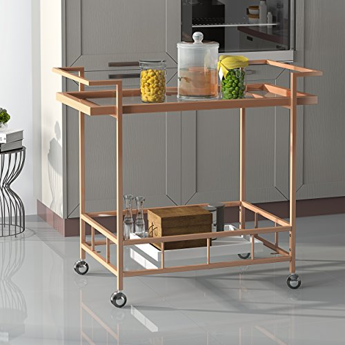 - Christopher Knight Home 304466 Amaya Industrial Iron and Glass Bar Cart, Rose Gold,