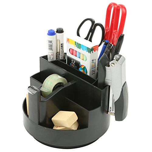 MyGift Rotating Desk Organizer, Round Office Desktop Supplies Caddy Rack, Black