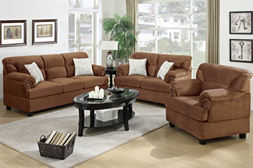 3Pcs Modern Saddle Microfiber Sofa Loveseat Chair Set with Accent Button Tufting Trimming the Arms