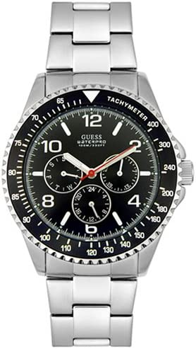 sfocato credere risciacquo  Amazon.com: GUESS? Men's 96004G Stainless Steel Black Dial Watch: Guess:  Watches