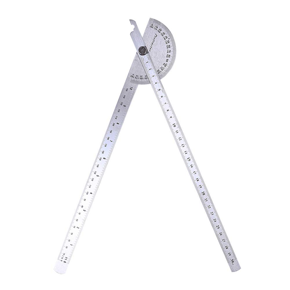 Stainless Steel Protractor Round Head, 0-180 Degrees, ISO Accuracy, Moving Arm Angle Ruler, Double Arms with Inch/Centimeter/Millimeter Scales by BIZAR