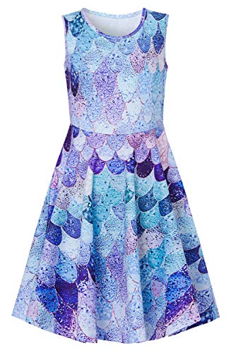 Uideazone Girls Print Mermaid Novelty Dresses Kid Sleeveless