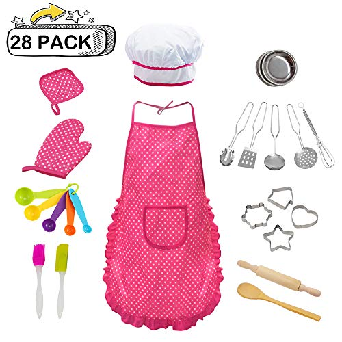 (VOIMAKAS Kid Chef Set, 28 PCS Chef Costume Set for Girls Kids Cooking and Baking Set Includes Apron, Chef Hat, Oven mitt, Cookie Cutters and Utensil for Kids Kitchen Costume Role)