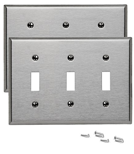 Pack of 2 Wall Plate Outlet Switch Covers by SleekLighting | Decorative Stainless Steel Look | Variety of Styles: Decorator/Duplex/Toggle/Blank / & Combo | Size: 3 Gang Toggle