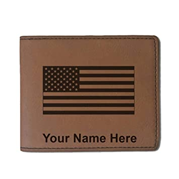Funda de piel sintética tipo cartera - bandera de los Estados Unidos - personalizado grabado incluido (marrón oscuro): Amazon.es: Jardín