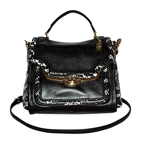 COACH Women's Madison Two-Tone Python Embossed Small Sadie Flap Satchel (Gold Embossed Handbag)