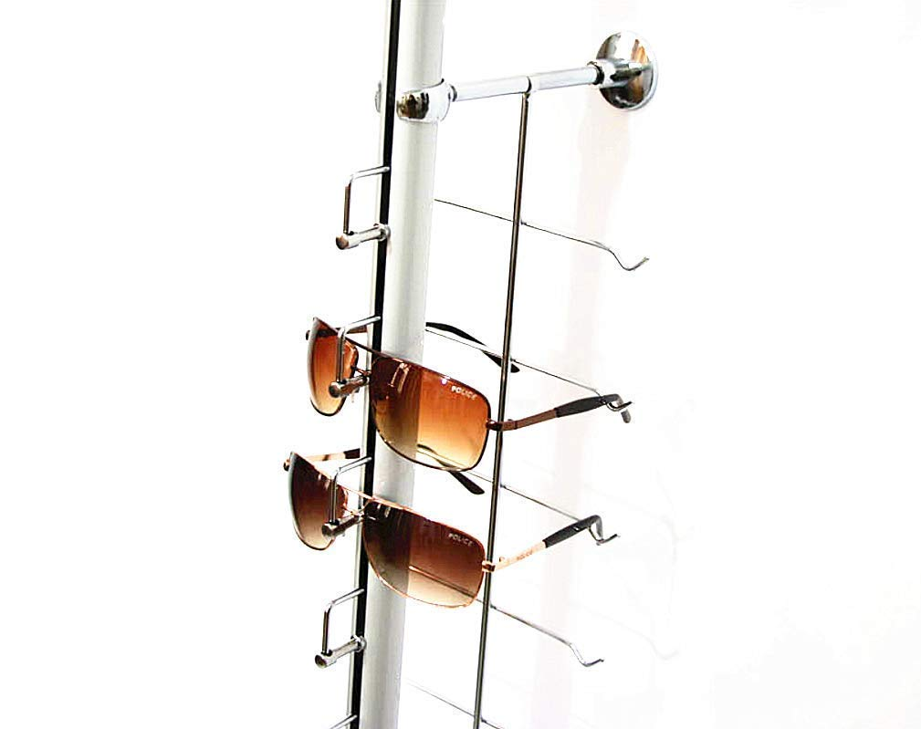 KUNHEWUHUA Aluminium Lockable Eyewears Sunglasses Display Rod 18 Tiers Optical Glasses Display Stand Holder 5.2ft / 1.6m Eyeglasses Display Rod with Locks by KUNHEWUHUA (Image #2)